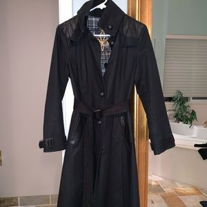 Mackage trench with leather trim